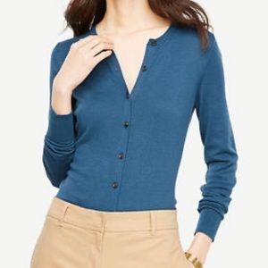 Ann Taylor Ann Cardigan Sweater Blue Green Sz XXL
